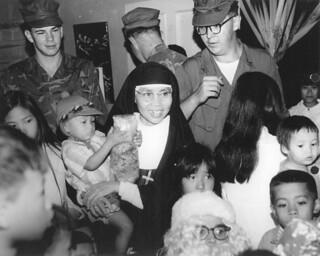 Santa Visits Red Beach Orphanage, Vietnam, 25 December 1969