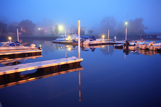Blue dawn fog at a marina