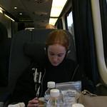 Sarah on the Acela
