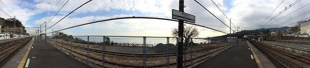iPhone5sで撮影 東海道本線根府川駅のパノラマ写真 2014年1月7日