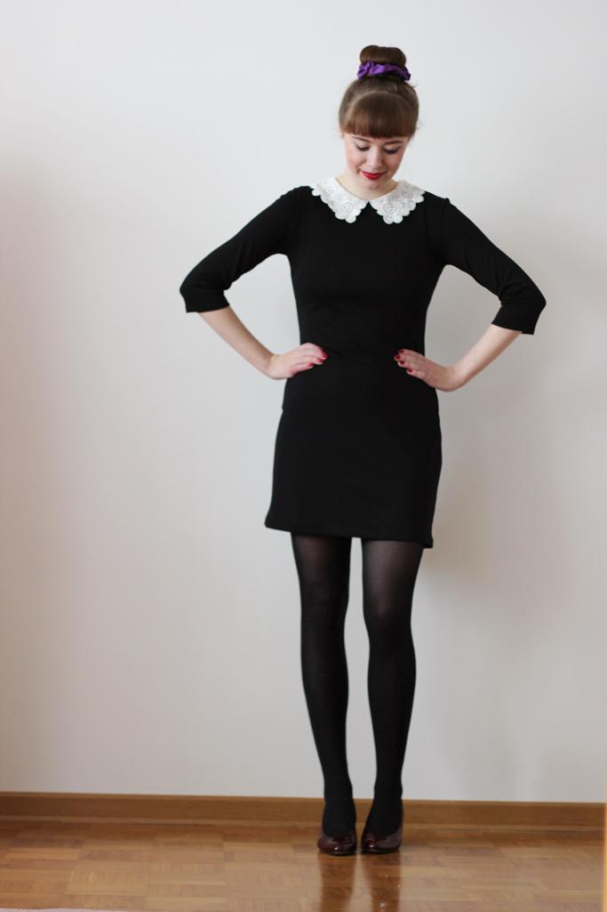 Schwarzes kleid mit spitze aufpeppen