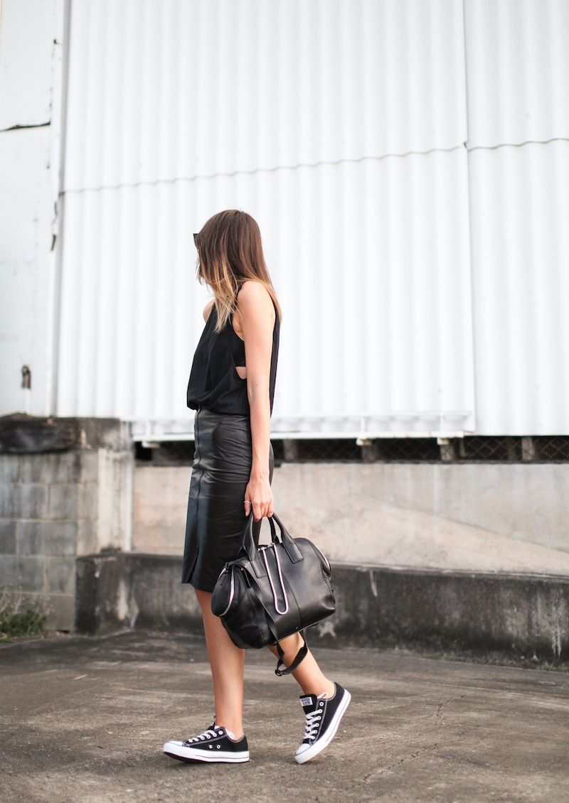 modern legacy fashion blogger Australia street style leather pencil skirt all black Converse All Star Bassike cutaway tank Alexander Wang Jamie Chastity tote chain bag (1 of 9)