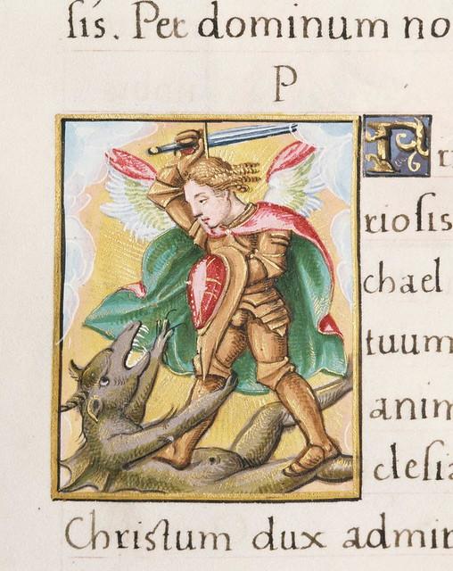 Livre d'heures en latin - Saint Michel combattant le dragon