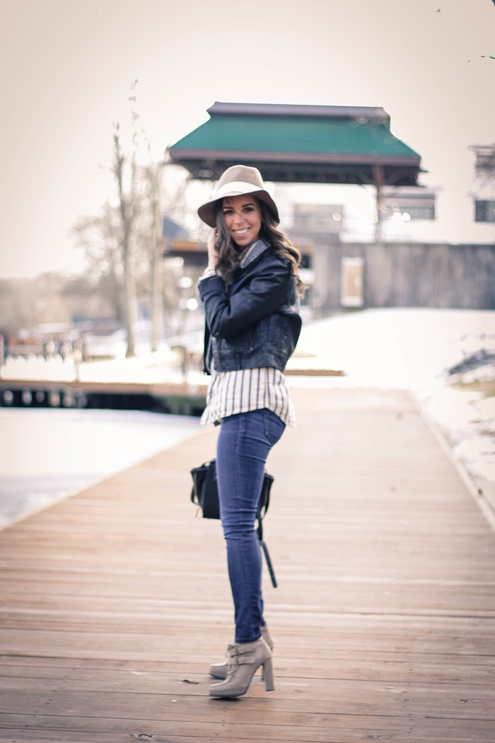 va darling. dc blogger. virginia blogger. dnim skinny jeans. denim vest under a faux leather moto jacket. wool hat. heeled booties 4