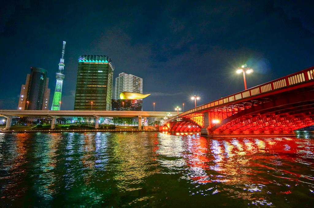 Tokyo Skytree with Asahi Beer Hall at Night