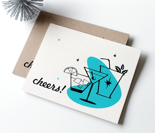 Cheers! Card. Screen Printed by hand