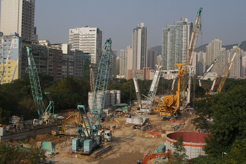 Cranes and construction equipment at work on the Sha Tin to Central Link at Diamond Hill