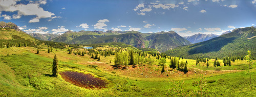 panorama mountains landscape pond colorado meadow hdr