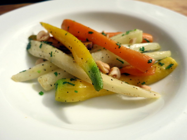 Heirloom carrots, with hazelnuts and Italian parsley