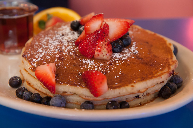 Strawberry and blueberry pancakes, Big Daddy's Diner