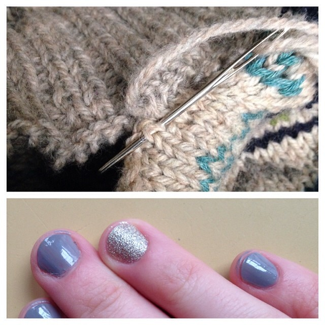 #fmsphotoaday something good: grafting on my button band to (hopefully) finish up this sweater, and I painted my nails today! Cool grey plus sparkly sparkles!