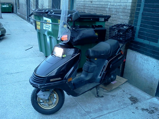 Honda Elite and Waste Management dumpster at Trinity Brewhouse, Providence, RI