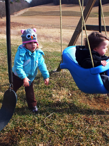 Pushing Bubba on the swing