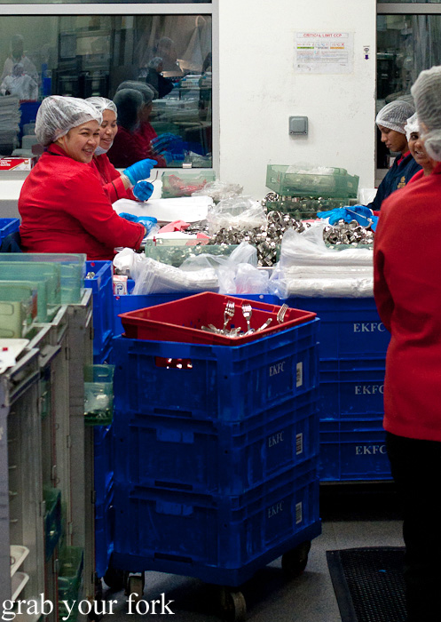 Cutlery polishing zone during a behind-the-scenes tour of Emirates Flight Catering