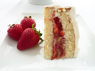 Strawberry Rhubarb Cream Cake