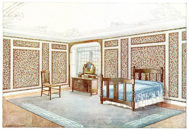 chromolithograph house interior with wallpaper
