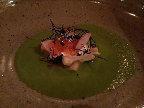 Green gazpacho, kefir, trout roe