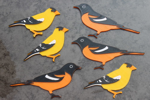 3D Printed Birds - Goldfinches and Orioles