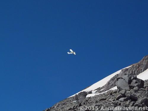 The little plane divebombing Mt. Hood (or really Elliot Glacier), Mount Hood National Forest, Washington