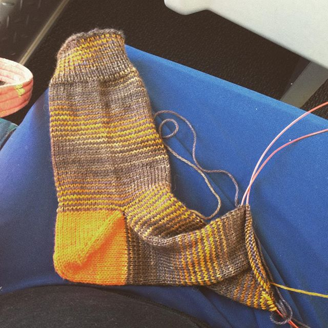 Train knitting: added afterthought heel to sick for pal Chris, leaving toe open to be able to fit length when I see her next month.