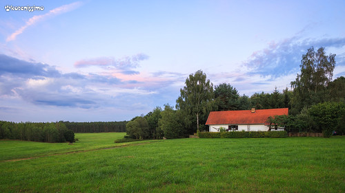 clouds country czech europe evening field forest grass house landscape lone nature sky sunset trees