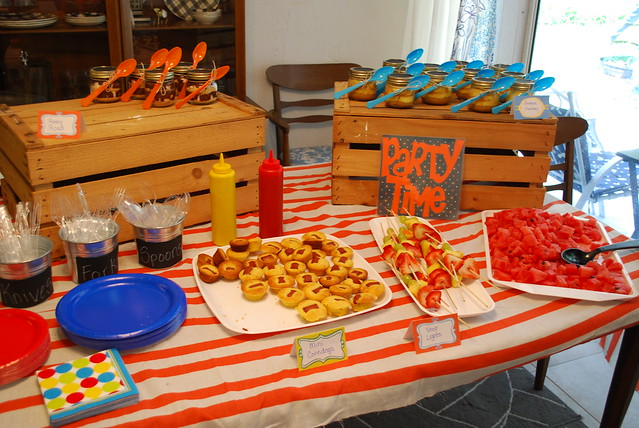 Food at the car-themed party