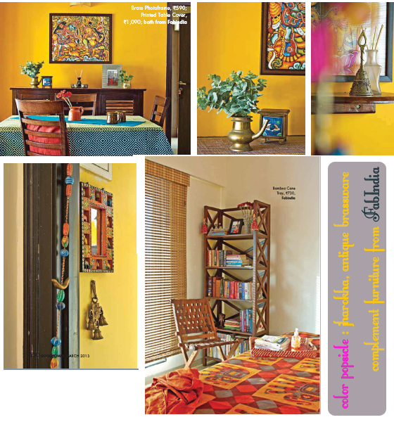 A traditional apartment decorated with furniture from Fabindia