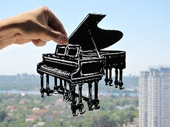 Grand Piano Handmade Original Papercut
