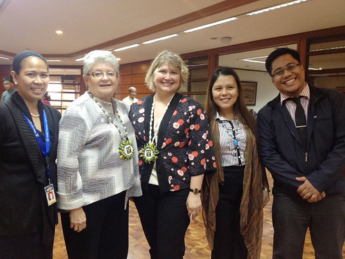 <p>UH President M.R.C. Greenwood and UH Manoa College of Social Sciences Dean Denise Konan  were met at the Asian Development Bank meeting by Ramon Clarete, who heads the UH Philippines alumni group.  He escorted them to several meetings and later organized a dinner with UH alumni in the Philippines.</p>