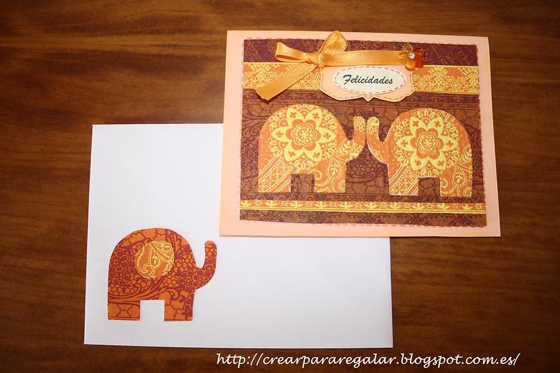 Tarjeta Felicitación Elefantes