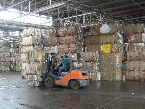 forklift with OCC bales