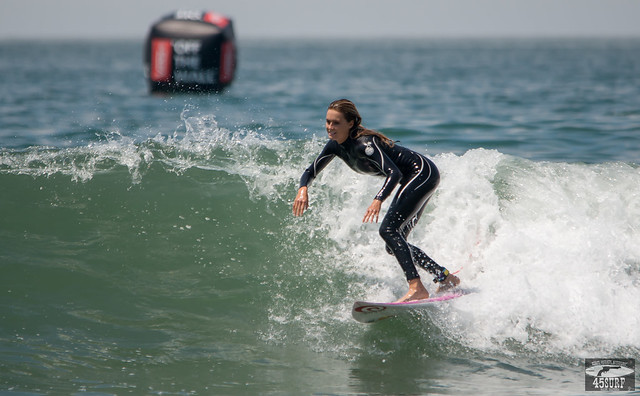 Alana Blanchard Freesurfing in Sexy Black Wetsuit Huntington Beach Pier Van's US Open