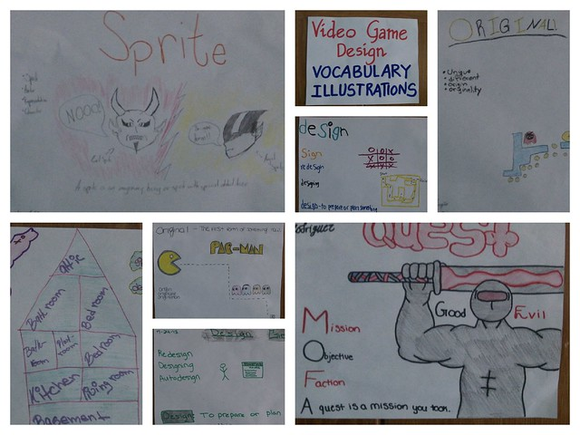 Game Design Vocab Illustrations Collage