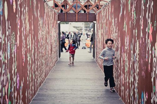 Kids Running at Flower Garden
