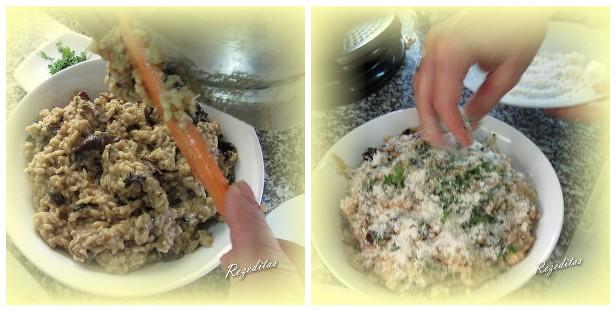Servir el risotto de setas