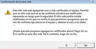 Aviso instala certificado