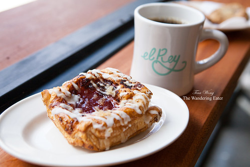 Sour plum and ginger danish with drip coffee