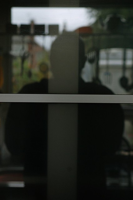 Wulf reflected in a shining glass door, with the rails forming a cross over him