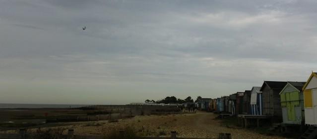Kite above Whitstable beach huts