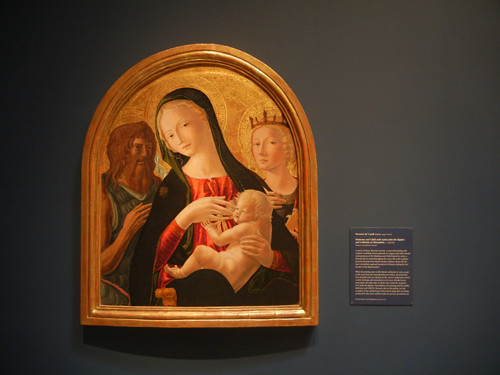 DSCN7703 _ Madonna and Child with Saints  John the Baptist and Catherine of Alexandria, c. 1480-85, Neroccio de  'Landi (1447-1500), Norton Simon Museum, July 2013
