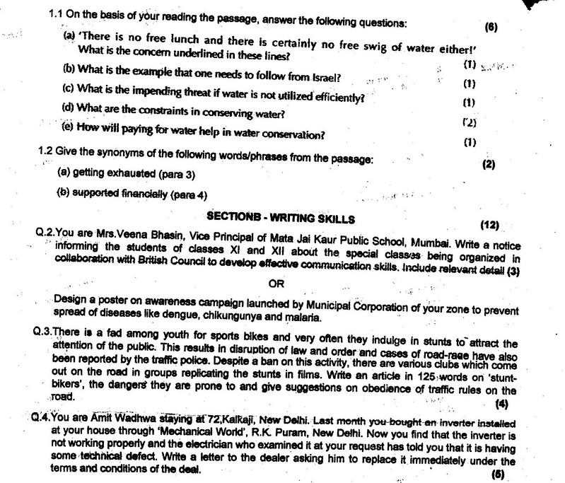 CBSE Class 11 Half Yearly Question Papers – English – AglaSem Schools