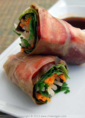 Strawberry Spring Rolls with Brown Rice Paper Wrappers
