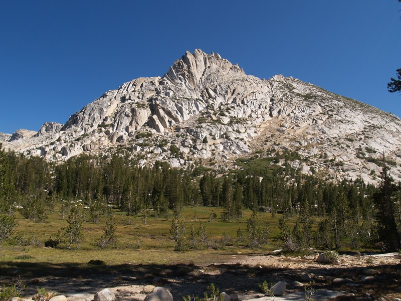View of Ragged Peak from the south, from the Young Lakes Trail