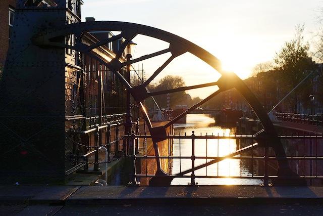 Amsterdam sunset bridge detail