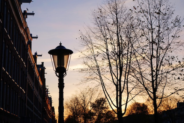 Amsterdam winter sunset street lamp