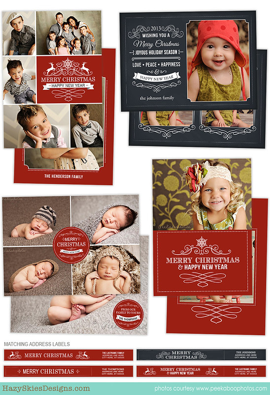 Christmas Card Template for Photographers Photo Card Template HC21215