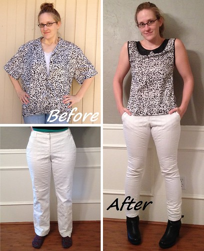 B&W Blouse & White Skinnies - Before & After