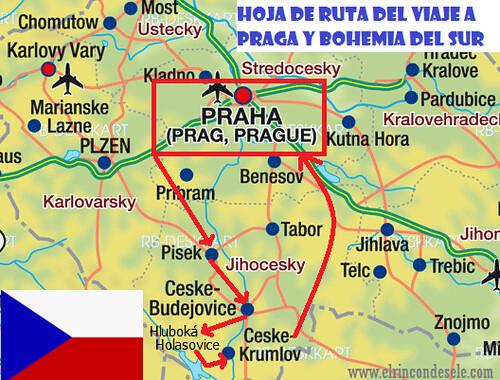 Mapa de la ruta por Praga y Bohemia del Sur