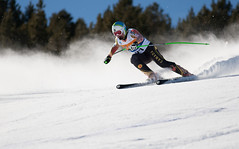 Chris Williamson in downhill at the 2013 IPC Alpine Skiing World Championships in La Molina, Spain.