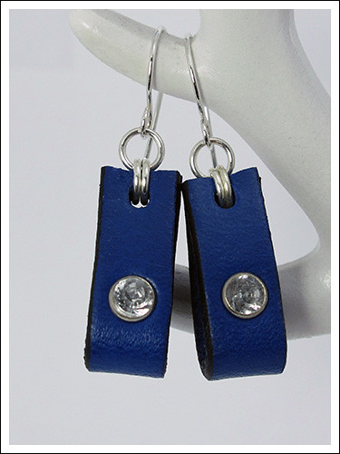 Leather & silver earrings